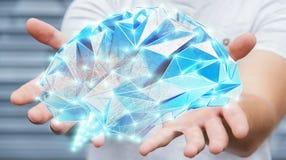 Zakenman die digitale x-ray menselijke hersenen in zijn hand 3D ren houden Royalty-vrije Stock Fotografie