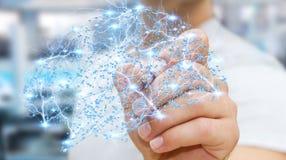Zakenman die digitale x-ray menselijke hersenen in zijn hand 3D ren trekken Royalty-vrije Stock Foto's
