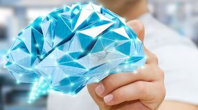 Zakenman die digitale x-ray menselijke hersenen in zijn hand 3D ren trekken Royalty-vrije Stock Fotografie