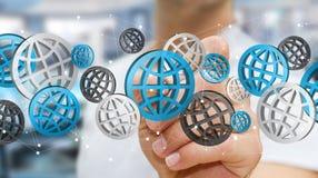 Zakenman die digitale Webpictogrammen '3D gebruiken rendering' Royalty-vrije Stock Afbeelding