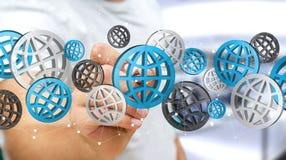 Zakenman die digitale Webpictogrammen '3D gebruiken rendering' Stock Afbeeldingen