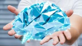 Zakenman die digitale x-ray menselijke hersenen in zijn hand 3D ren houden Royalty-vrije Stock Foto