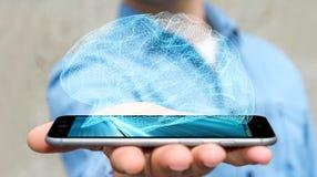 Zakenman die digitale x-ray menselijke hersenen in zijn hand 3D ren houden Stock Afbeeldingen