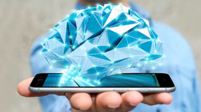 Zakenman die digitale x-ray menselijke hersenen in zijn hand 3D ren houden Royalty-vrije Stock Afbeeldingen