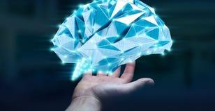 Zakenman die digitale x-ray menselijke hersenen in zijn hand 3D ren houden Stock Afbeelding