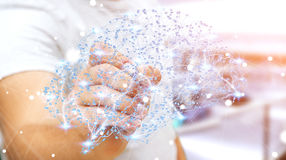 Zakenman die digitale x-ray menselijke hersenen in zijn hand 3D ren trekken Royalty-vrije Stock Afbeeldingen
