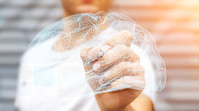 Zakenman die digitale x-ray menselijke hersenen in zijn hand 3D ren trekken Stock Afbeelding