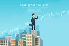 Zakenman die door kijker kijken en nieuwe ideeën, tendensen, markten zoeken royalty-vrije illustratie