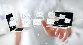 Zakenman die e-mail op zijn digitale apparaten 3D renderin ontvangen Royalty-vrije Stock Fotografie