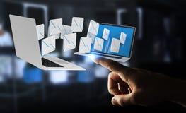 Zakenman die e-mail op zijn digitale apparaten 3D renderin ontvangen Stock Fotografie