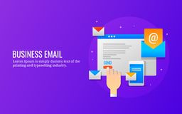 Zakenman die e-mailbulletin naar klanten, e-mail marketing, mobiel bulletin, digitale campagne verzenden Vlakke ontwerpbanner royalty-vrije illustratie