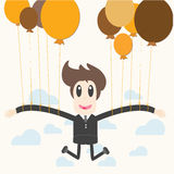 Zakenman die een ballon houden Stock Afbeelding