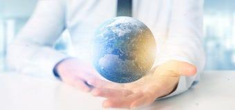 Zakenman die een 3d het teruggeven bol van de deeltjesaarde houden Stock Foto's