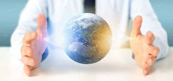 Zakenman die een 3d het teruggeven bol van de deeltjesaarde houden Royalty-vrije Stock Foto