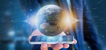 Zakenman die een 3d het teruggeven bol van de deeltjesaarde houden Royalty-vrije Stock Afbeelding