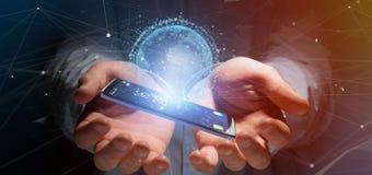 Zakenman die een 3d het teruggeven bol van de gegevensaarde op een smartph houden Royalty-vrije Stock Foto