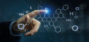 Zakenman die een 3d het teruggeven molecule structuur geïsoleerd o houden Royalty-vrije Stock Foto's