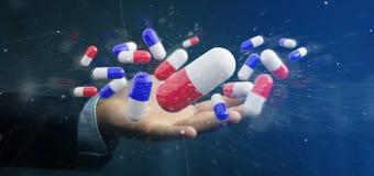 Zakenman die een 3d teruggevende groep medische pillen houden Stock Fotografie