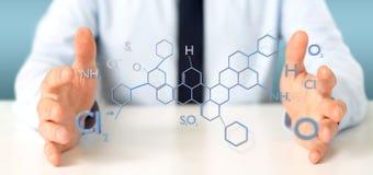 Zakenman die een 3d teruggevende moleculestructuur o houden Royalty-vrije Stock Afbeelding