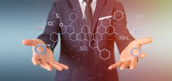 Zakenman die een 3d teruggevende moleculestructuur o houden Stock Afbeeldingen