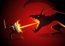 Zakenman die een draak bestrijden royalty-vrije illustratie