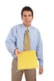 Zakenman die een envelop overhandigt stock fotografie