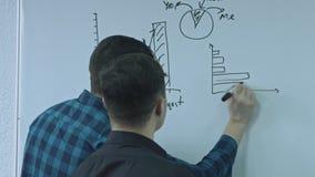 Zakenman die een functie schrijven en zijn ideeën op witte raad zetten tijdens een presentatie Het delen van bedrijfsideeën en stock video