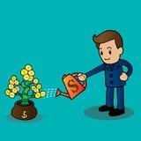 Zakenman die een geldboom water geeft Stock Fotografie