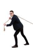 Zakenman die een kabel trekt Stock Afbeelding