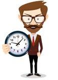 Zakenman die een klok, vectorillustratie houden stock illustratie