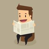 Zakenman die een krant leest Vector ePS-Dossier Royalty-vrije Stock Afbeelding