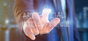 Zakenman die een kunstmatige intelligentierobot houden die van ligh wordt gemaakt Royalty-vrije Stock Foto's