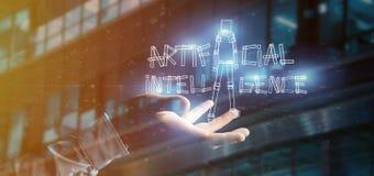 Zakenman die een kunstmatige intelligentierobot houden die van ligh wordt gemaakt Royalty-vrije Stock Afbeeldingen
