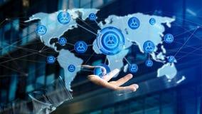 Zakenman die een Netwerk over een verbonden wereldkaart houden - 3d aangaande Stock Foto's