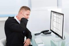 Zakenman die een online spreadsheet bestuderen stock foto