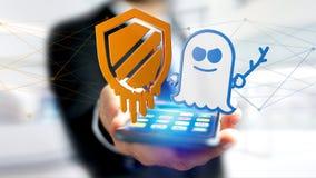 Zakenman die een smartphone met een Afsmelting en een Spook gebruiken proce Royalty-vrije Stock Afbeeldingen