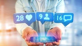 Zakenman die een smartphone met a als, Aanhanger gebruiken en messag Stock Foto