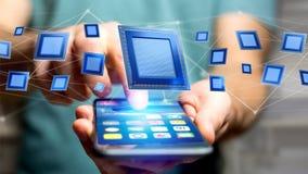 Zakenman die een smartphone met een een Bewerkerspaander en netwerk gebruiken Royalty-vrije Stock Foto's