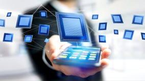 Zakenman die een smartphone met een een Bewerkerspaander en netwerk gebruiken Royalty-vrije Stock Afbeeldingen