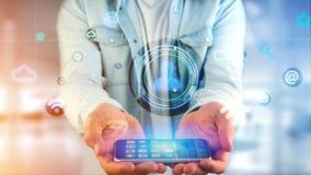 Zakenman die een smartphone met een Contactpictogram gebruiken die B omringen Stock Foto's