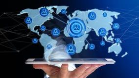 Zakenman die een smartphone met een Netwerk over verbonden w gebruiken Stock Foto's