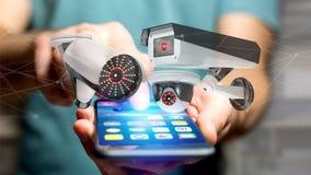 Zakenman die een smartphone met een systeem van de Veiligheidscamera gebruiken en Royalty-vrije Stock Afbeelding