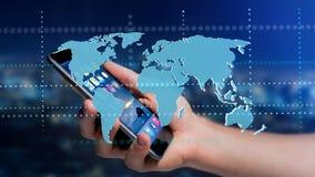 Zakenman die een smartphone met een Verbonden wereldkaart gebruiken - 3d r Stock Foto