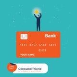 Zakenman die een ster bovenop een creditcard vangen Stock Foto