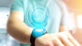 Zakenman die een technologic de bolknoop houden van Shinny - 3d rende Royalty-vrije Stock Afbeelding