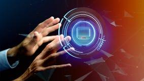 Zakenman die een technologic de computerknoop van Shinny - 3d houden aangaande Royalty-vrije Stock Foto's
