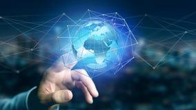 Zakenman die een Verbonden netwerk over een conce van de aardebol houden Stock Afbeelding