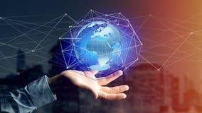 Zakenman die een Verbonden netwerk over een conce van de aardebol houden Royalty-vrije Stock Afbeeldingen