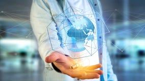 Zakenman die een Verbonden netwerk over een conce van de aardebol houden Royalty-vrije Stock Afbeelding