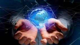 Zakenman die een Verbonden netwerk over een conce van de aardebol houden Stock Afbeeldingen